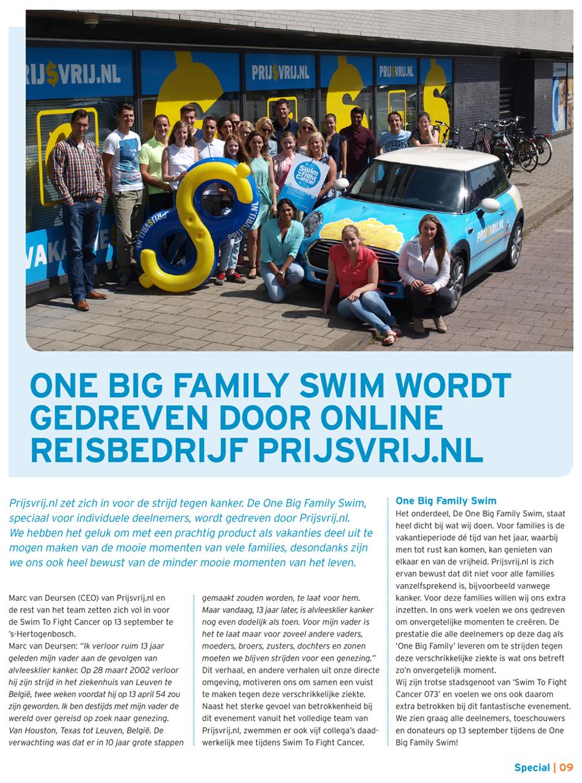 Artikel One Big Family Swim wordt gedreven door online reisbedrijf Prijsvrij.nl