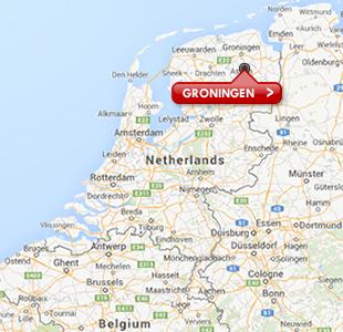 Kaart met locatie van Groningen Airport Eelde