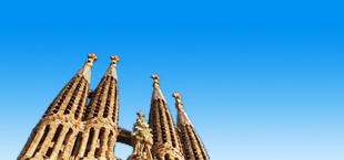 De torens van de Sagrada Familia in Barcelona