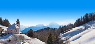 Duitse bergen en bebossing in de sneeuw