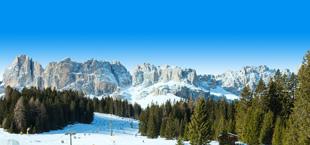 Besneeuwde bergen met bomen in Italië