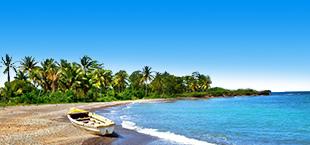 Kust met verlaten bootje en palmbomen op Jamaica