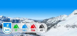 Skigebied Le Grand Massif met besneeuwde bergen