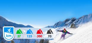 Skigebied Portes du Soleil met besneeuwde bergen