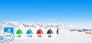 Skigebied Tignes Valdisere met besneeuwde bergen