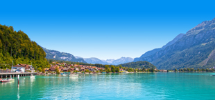 Meer grenzend aan bergen met bomen in Zwitserland