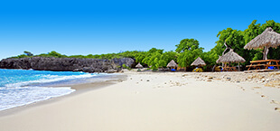 Wit zandstrand, blauwe zee en huisjes in de bossen op Curacao