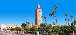 Koutoubia moskee op het plein in Marrakech