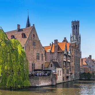 Traditionele huizen in de oude stad Brugge in Belgie