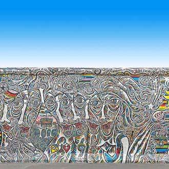 Berlijnse muur met beschildering