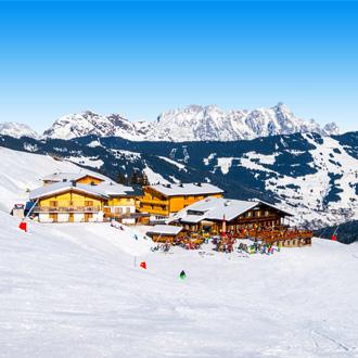 Skipiste Saalbach Hinterglemm Leogang in Tirol Oostenrijk sneeuw