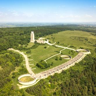 Uitzicht op het concentratiekamp Buchenwald in Weimar in de deelstaat Thuringen, Duitsland