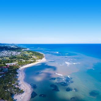 Bovenuitzicht van resorts in Puerto Plata in het noorden van de Dominicaanse Republiek