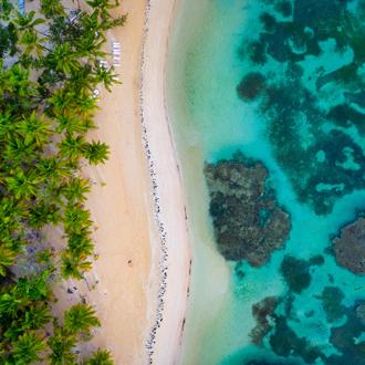 Uitzicht op de noordkust en het strand van de Dominicaanse Republiek