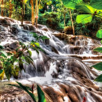 Ocho Rios, Dunns river falss, waterval met groene bladen