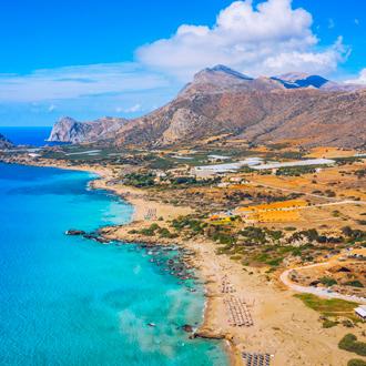 Uitzicht op het Falasarna strand in Chania op Kreta