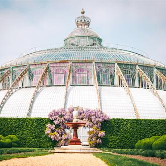 Het Franse Barokgebouw in de botanische tuin in Brussel