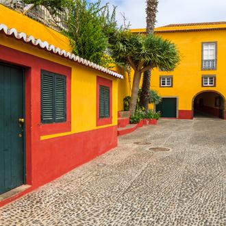 Gele gebouwen van het kasteel van Sao Tiago, Funchal, Madeira