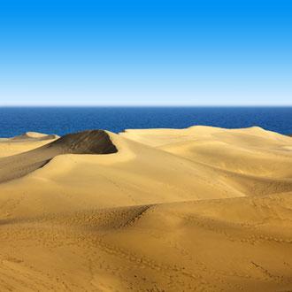 Foto van de duinen in Maspalomas met de zee op de achtergrond