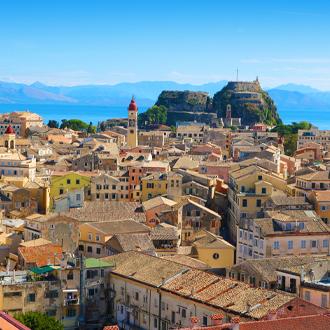 Uitzicht over de oude stad van Corfu, Griekenland