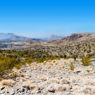 Uitzicht over de Hajar mountains in Oman