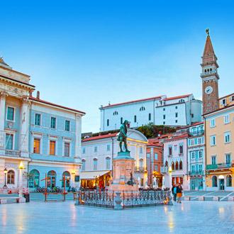 Centraal plein in Porec, Kroatie