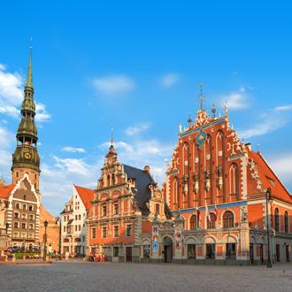 Het plein in het centrum van Riga, Letland