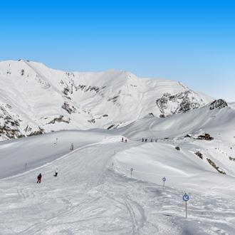 Hintertuxer gletsjer en skipistes in Tirol Oostenrijk