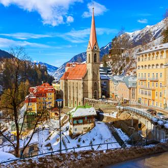 Huisjes-in-het-bekende-Bad-Gastein-in-Oostenrijk