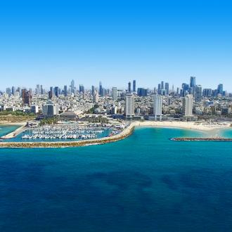 De skyline van Tel Aviv in Israel