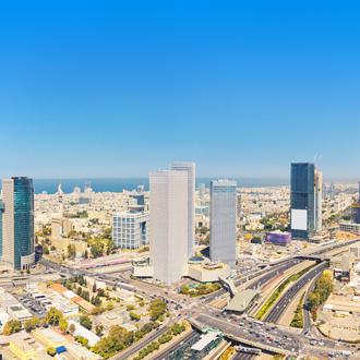 De skyline van Ramat Gan in Tel Aviv
