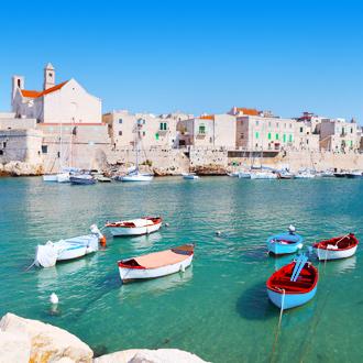 Vissersboten in het kleurrijke havenplaatsje Giovinazzo in Italie