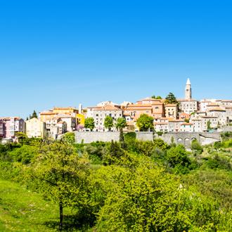 Uitzicht vanaf Rabac in Istrie, Kroatie