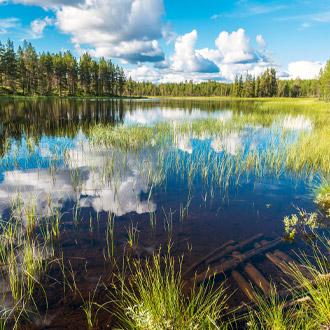Landschap Soralven rivier in Dalarna, Zweden