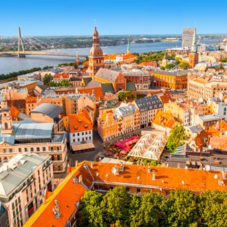 Uitzicht over het centrum van Riga in Letland