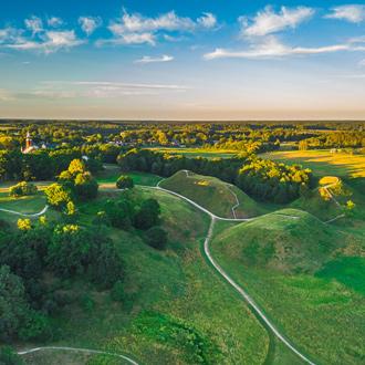 Luchtfoto van een landschap in Litouwen