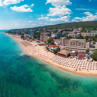 Luchtfoto van Gouden zand beach resort, dichtbij Varna, Bulgarije
