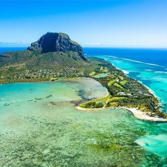 Luchtfoto van het eiland Mauritius