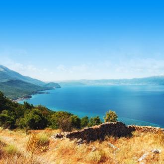 Het nationaal park Galicica in Ohrid, Macedonie