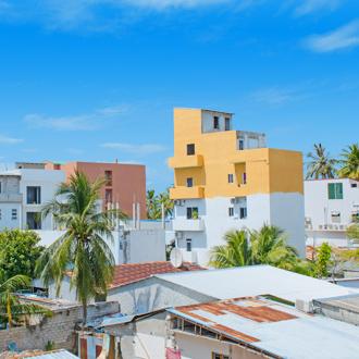 Huisjes op het eiland Maafushi op Zuid Male Atol