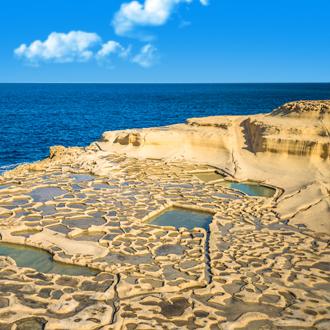 De zoutvlaktes van Gozo op Malta