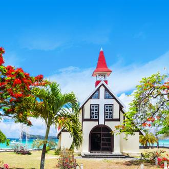 Rode kerk in Cap Malheureux in Mauritius