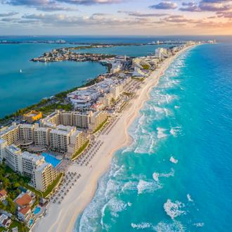 Uitzicht op Cancun op het Mexicaanse schiereiland Yucatan