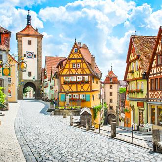 Mooi zicht op de historische stad Rothenburg, Franken, Beieren , Duitsland