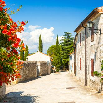 Mooie straat van middeleeuwse stad Vrsar in Istrië, Kroatië