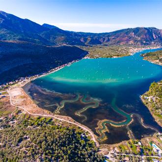 Nidri baai op Lefkas, Griekenland