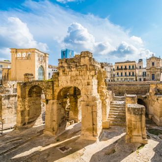 Oud Romeins Amphitheater in Lecce, Puglia, Italy