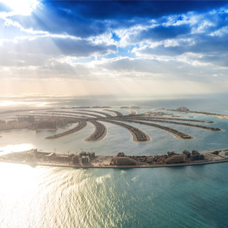 The Palm Palmeiland met zon Dubai