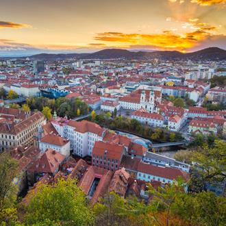 Panoramisch uitzicht over Graz