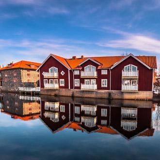 Pittoreske houten huizen in Falun, Dalarna